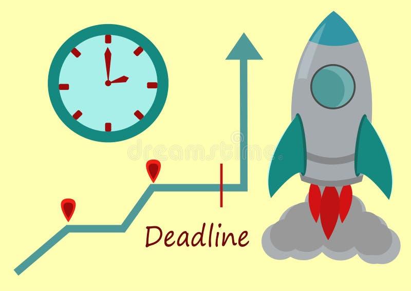 Wizerunek Prosta wektor rakieta, Ścienny zegar, wykres i Prosty tekst, ilustracja wektor