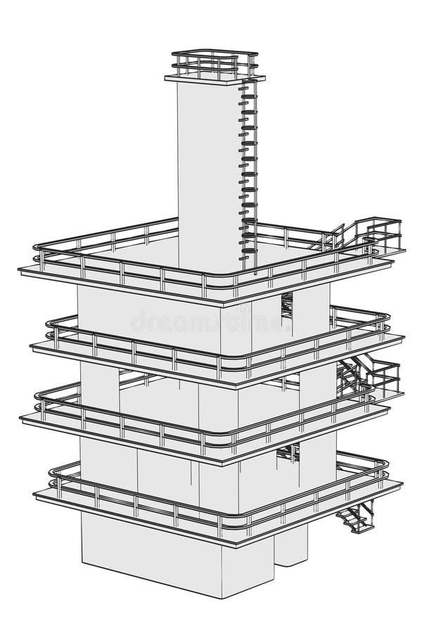 Wizerunek przemysłowy budynek ilustracja wektor