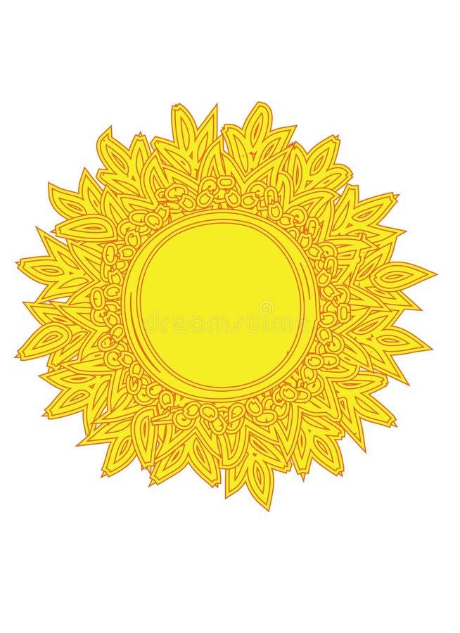 Wizerunek słońce - zentangle styl obraz stock