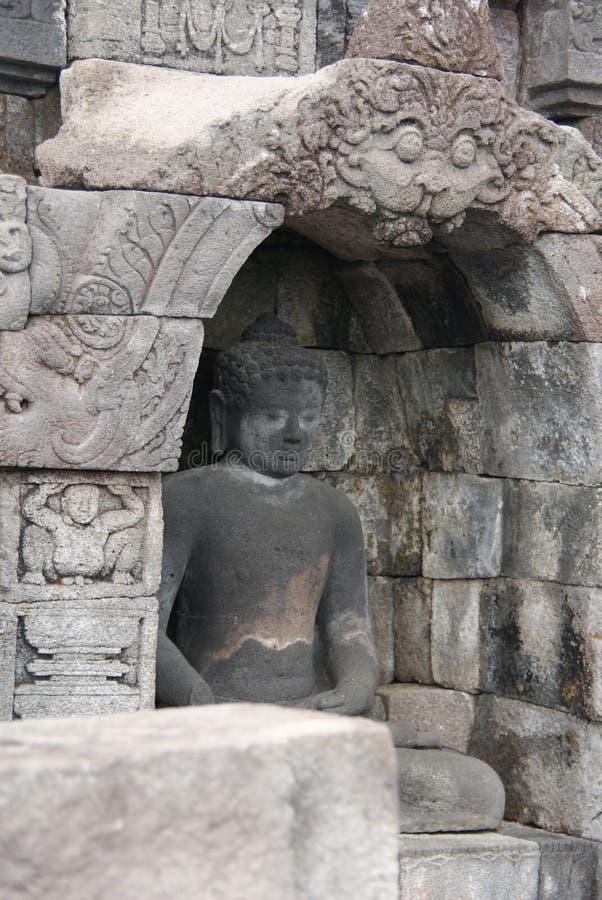 Wizerunek siedzieć Buddha w Borobudur świątyni, Jogjakarta, Indonezja zdjęcie stock
