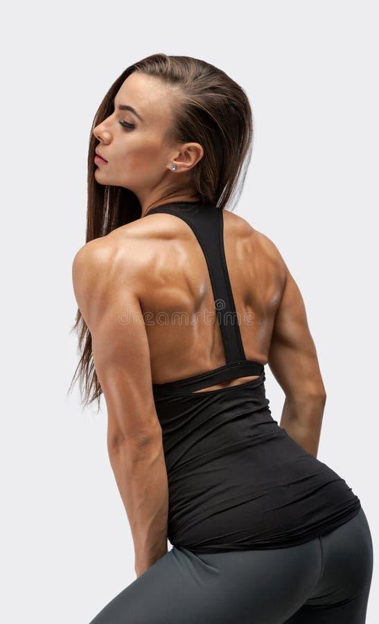 Wizerunek sprawności fizycznej kobieta w sportów odziewać Młody kobieta model z mięśniowym ciałem niezła kobieta piękna fotografia royalty free