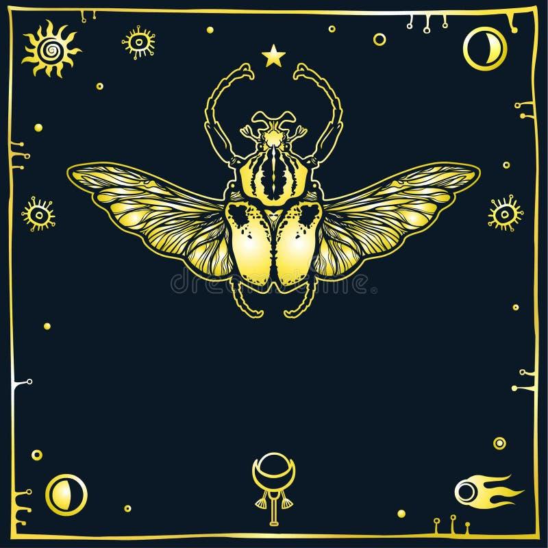 Wizerunek stylizowana pluskwa Goliath, dekoracyjna rama, astronautyczni symbole Ezoteryk, mistycyzm, okultyzm ilustracji
