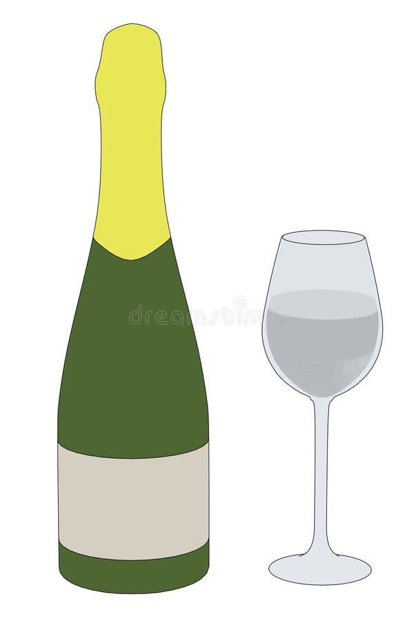 Wizerunek szampan z szkłem ilustracji