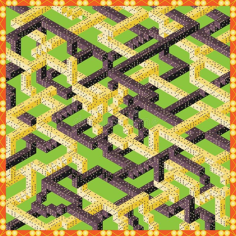Wizerunek Wektor Trzeci W, Zabawny Maze, Kość ilustracja wektor