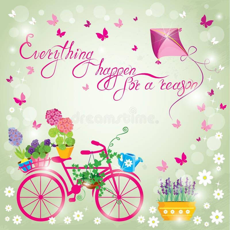 Wizerunek z kwiatami w garnkach i bicyklu na nieba błękita tle d royalty ilustracja