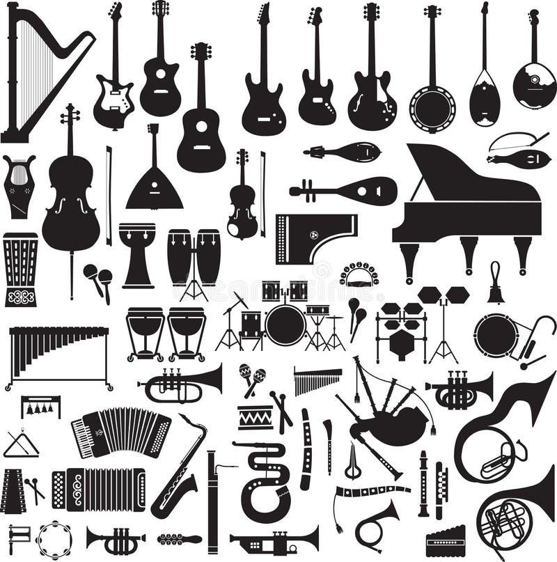 60 wizerunków instrumenty muzyczni ilustracja wektor