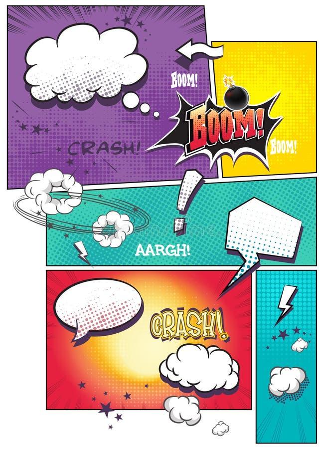 Wizerunku komiksu strony z różną mową gulgoczą dla teksta as well as różnorodnych dźwięków na barwionym tle, ilustracji