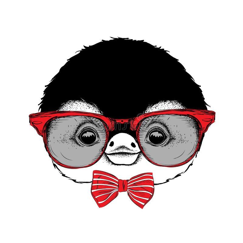 Wizerunku portret kreskówka pingwin w cravat z szkłami i również zwrócić corel ilustracji wektora ilustracja wektor