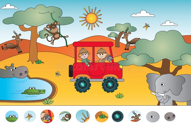 Wizualna gra dla dzieci ilustracja wektor