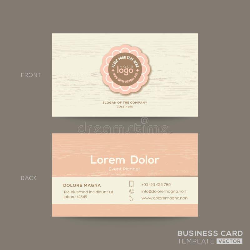 Wizytówka dla prezenta sklepu, kawy lub piekarnia sklepu, Różowy pastelowy imię karty szablon z drewnianym tłem ilustracji