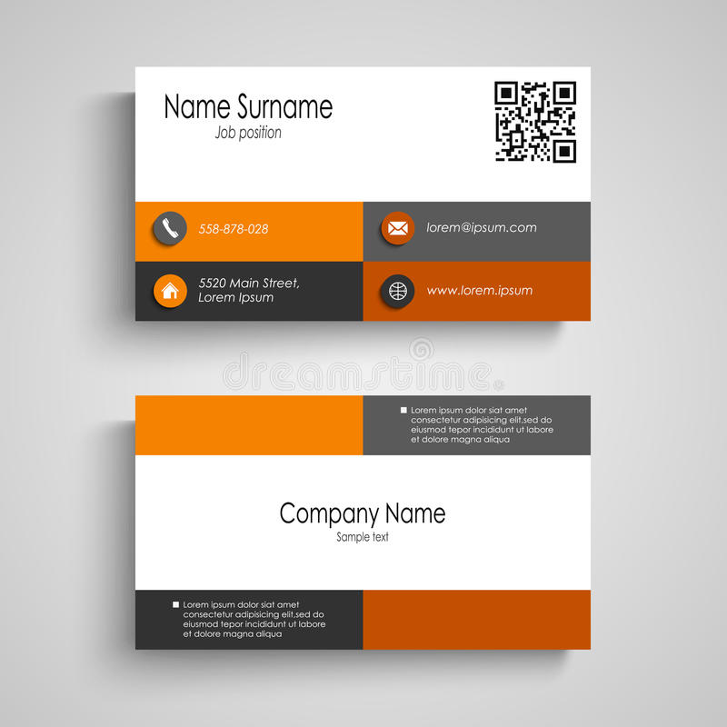 Wizytówka z pomarańcze kwadratów popielatym projektem ilustracja wektor