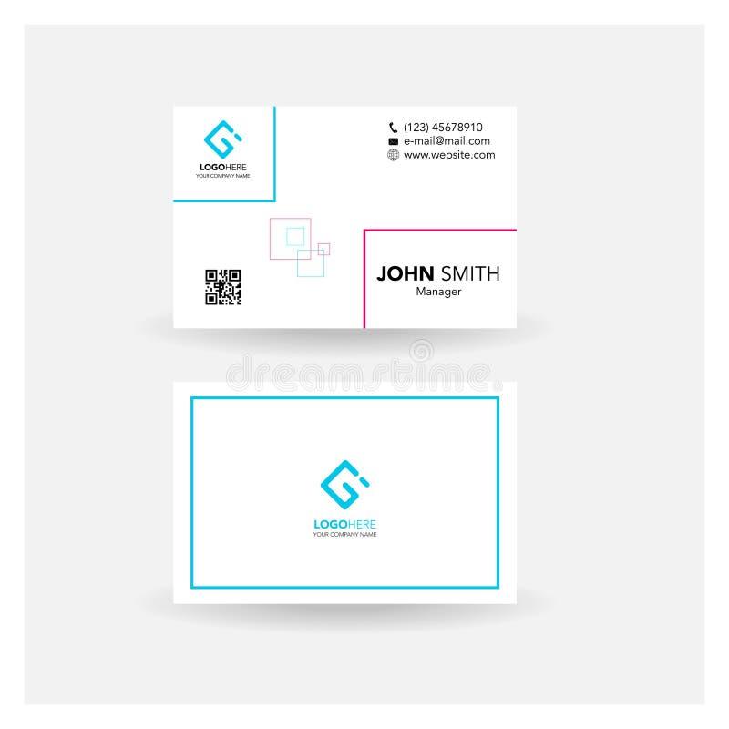 Wizytówki imię karty design_rectangle błękita proste menchie ilustracja wektor