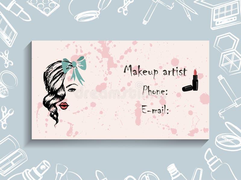 Wizytówki, korporacyjna tożsamość, korporacyjny styl, makeup artysta, visagiste royalty ilustracja