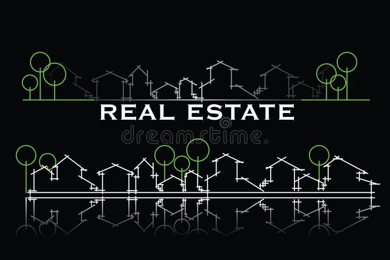 wizytówki nieruchomości real ilustracji