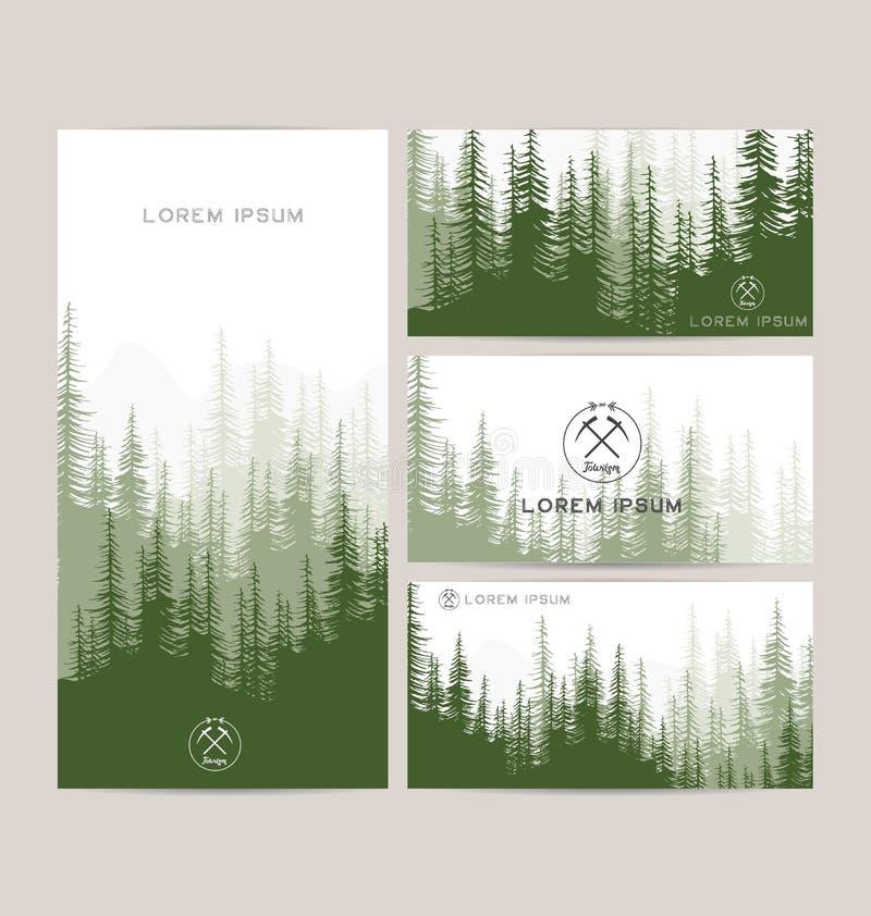 Wizytówki projektują set zielony lasu i gór backgrou royalty ilustracja