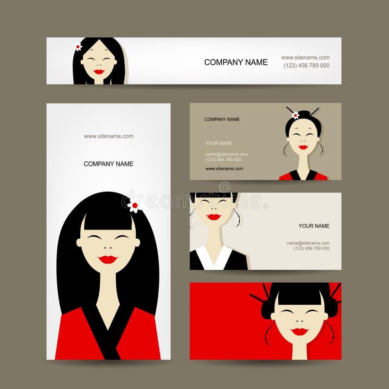 Wizytówki projektują z azjatykcimi dziewczynami ilustracja wektor