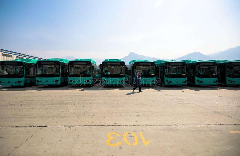 Wizyty BYD Autobusowa Rękodzielnicza fabryka w Chiny obrazy royalty free
