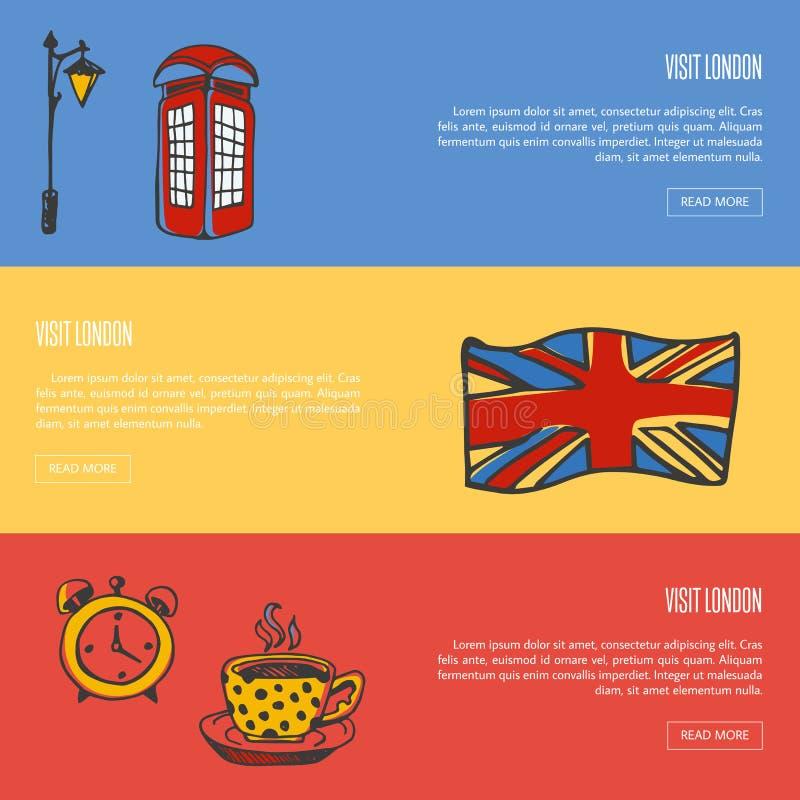 Wizyty sieci Londyńscy Turystyczni Wektorowi sztandary royalty ilustracja