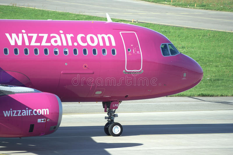 Wizzair airliner during taxi roll royalty free stock image