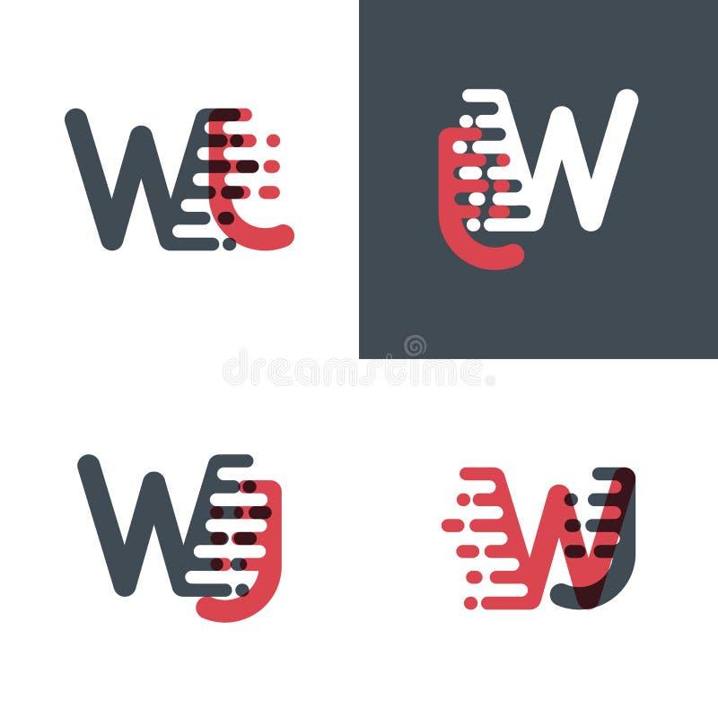 WJ marque avec des lettres le logo avec le rose de vitesse d'accent et gris-foncé illustration libre de droits
