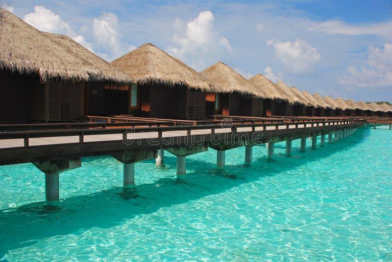 Wjazd wyspy wakacje na Overwater bungalowie zdjęcia stock