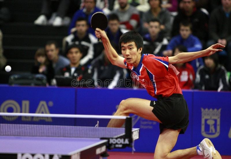 WJTTC Madrid 2008. Semi Final between DRINKHALL Paul (ENG) and LEE Sang Su (KOR) in the centro deportivo municipal Francisco Fernandez Ochoa de Madrid, in the stock images