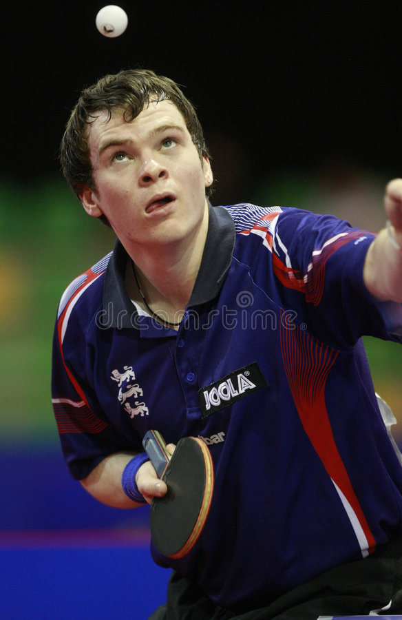 WJTTC Madrid 2008. Semi Final between DRINKHALL Paul (ENG) and LEE Sang Su (KOR) in the centro deportivo municipal Francisco Fernandez Ochoa de Madrid, in the royalty free stock photography