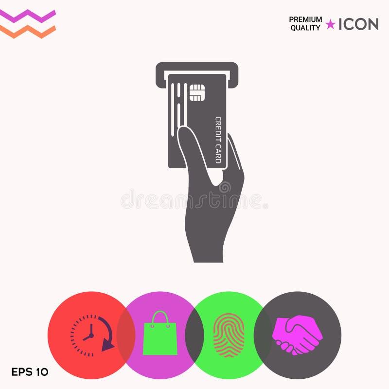 Wkładać kredytowej karty ikonę ilustracja wektor