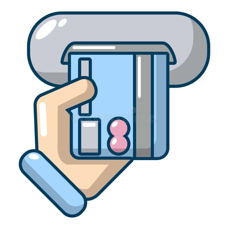 Wkładać kredytowej karty ikonę, kreskówka styl ilustracja wektor