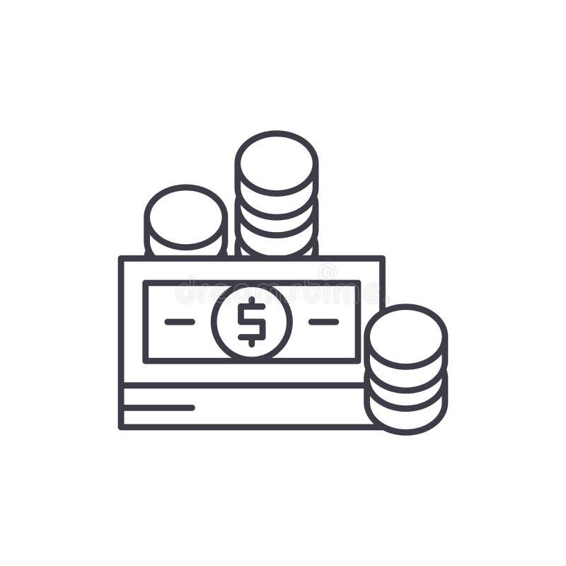 Wkłady pieniężni wykładają ikony pojęcie Wkład pieniężny wektorowa liniowa ilustracja, symbol, znak royalty ilustracja