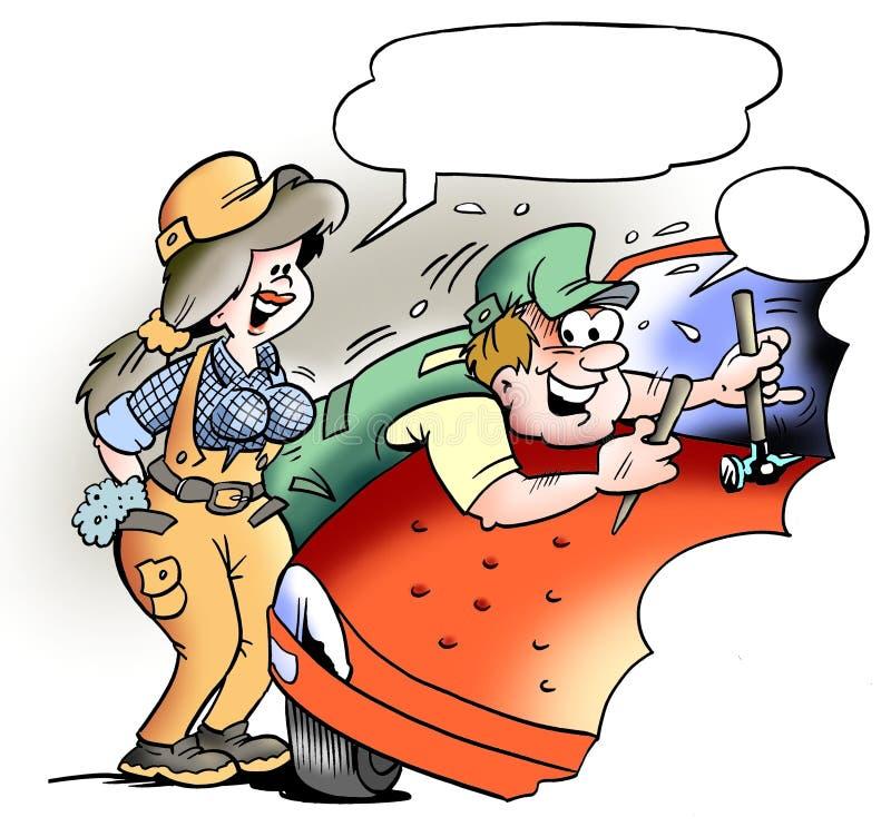 Wklęśnięcie mechanik przy pracą royalty ilustracja