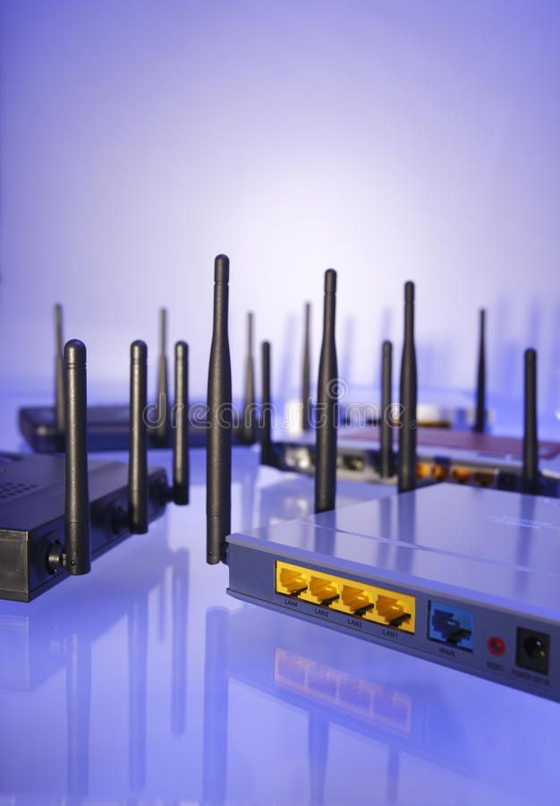 Wlan Router. In blue light stock images