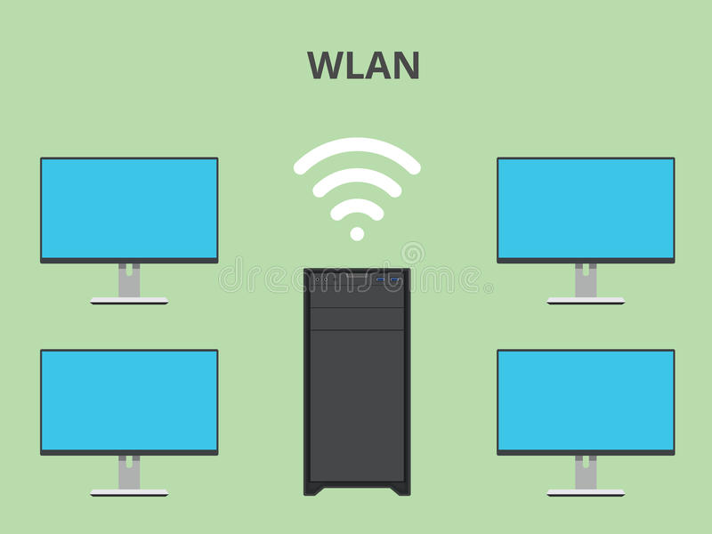 Wlan wireless local area network. Illustration stock illustration