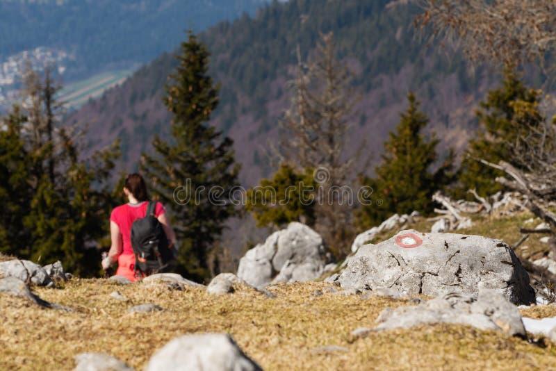 Wlec ocechowanie na rockowym i żeńskim wycieczkowiczu pochodzi górę w tle zdjęcia stock