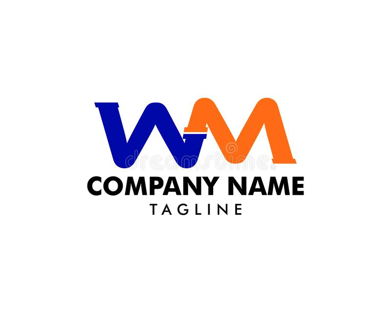 WM Pipe Letter Logo Icon Design stock illustration