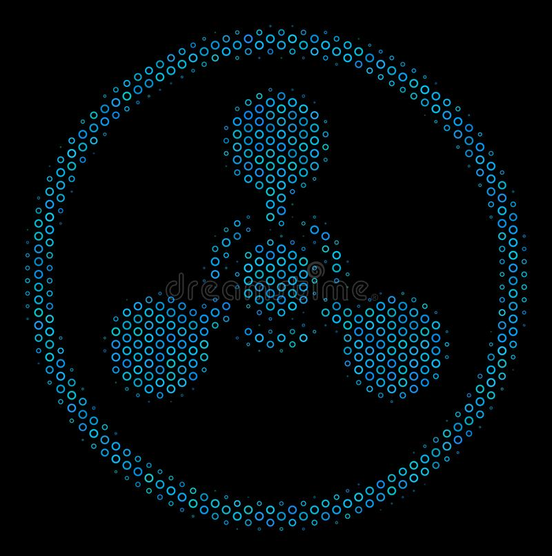WMD Nerve Agent Chemical Warfare Mosaic Icon of Halftone Circles. Halftone WMD nerve agent chemical warfare mosaic icon of empty circles in blue color tinges on vector illustration