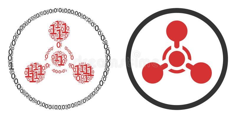 WMD-Nerven-Vertreter Chemical Warfare Collage von Binärstellen vektor abbildung