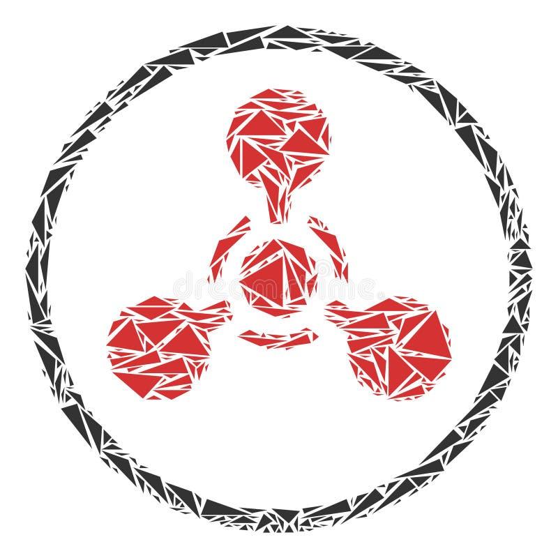 WMD-Nerven-Vertreter Chemical Warfare Collage von Dreiecken stock abbildung