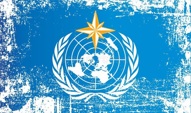 WMO-vlag, Wereld Meteorologische Organisatie Gerimpelde vuile vlekken stock illustratie