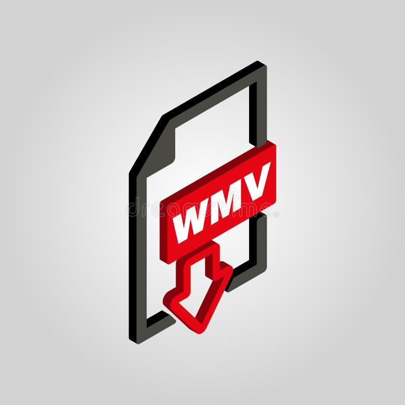 WMV象 等量的3D 视频文件格式标志 平的传染媒介 向量例证