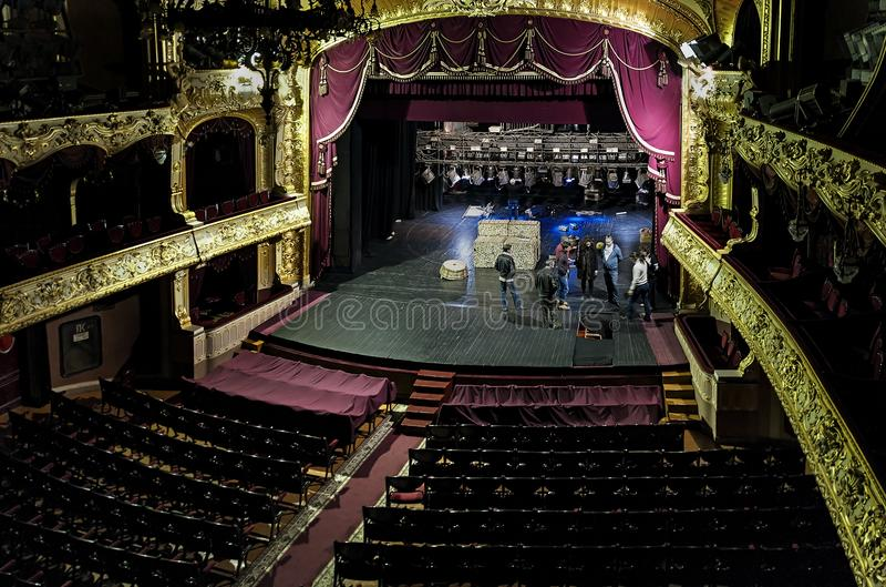 Wnętrza Chernivtsi Muzycznego dramata teatr w Chernivtsi, Ukraina obraz royalty free
