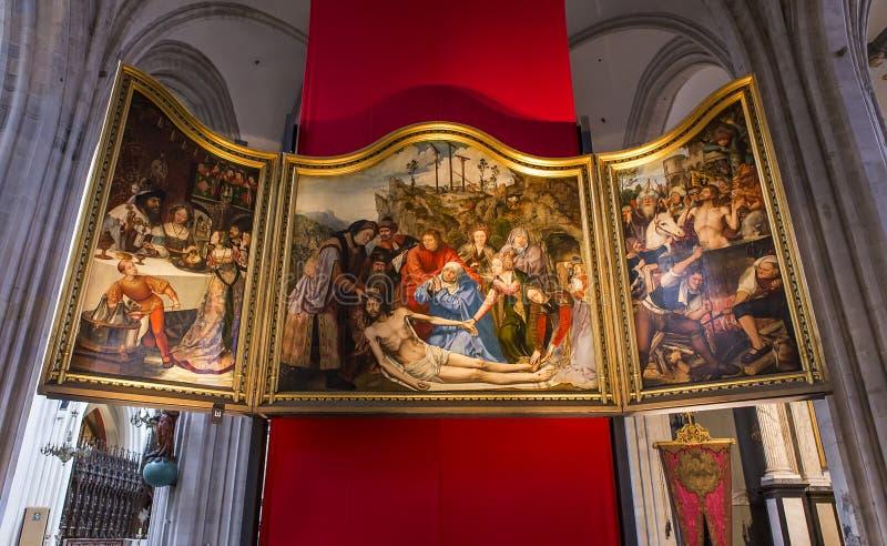 Wnętrza Notre paniusi d'Anvers katedry, Anvers, Belgia zdjęcie royalty free
