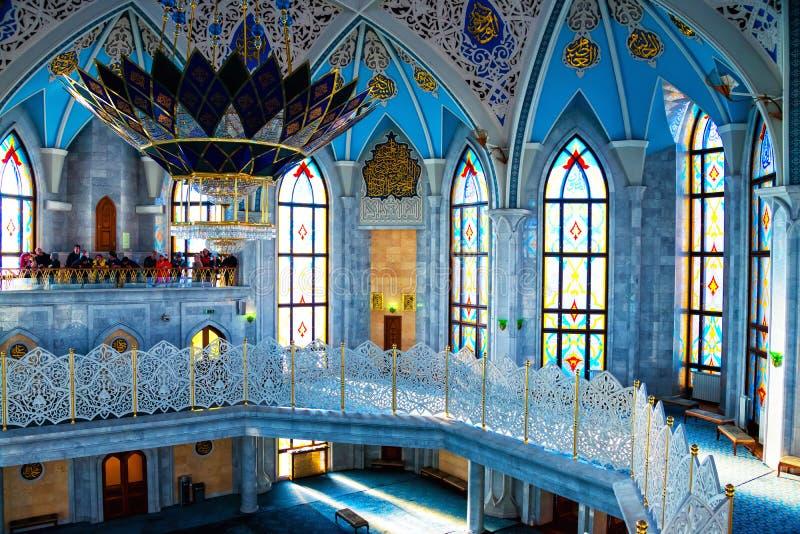 Wnętrza sławny Qol Sharif meczet w Kazan, Rosja zdjęcia stock