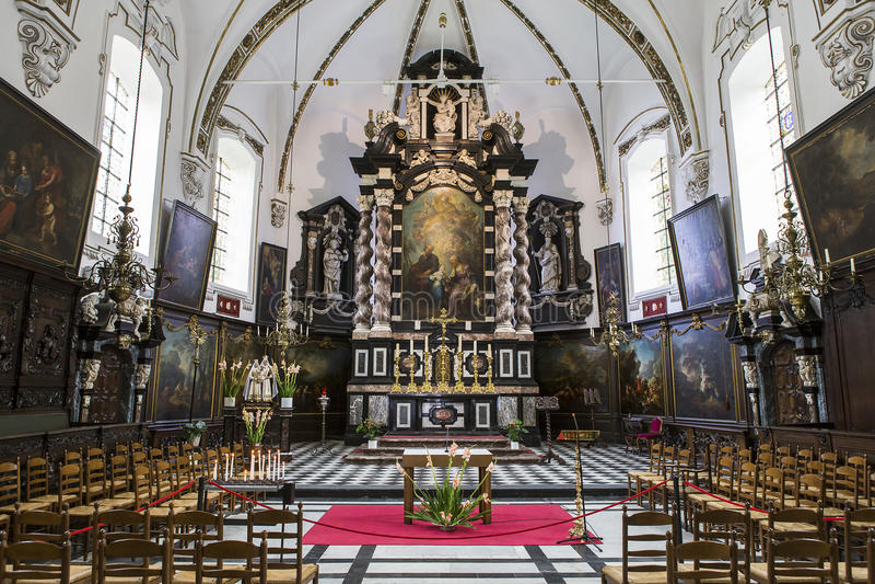 Wnętrza sainte Anne chrurch, Bruges, Belgia zdjęcia royalty free