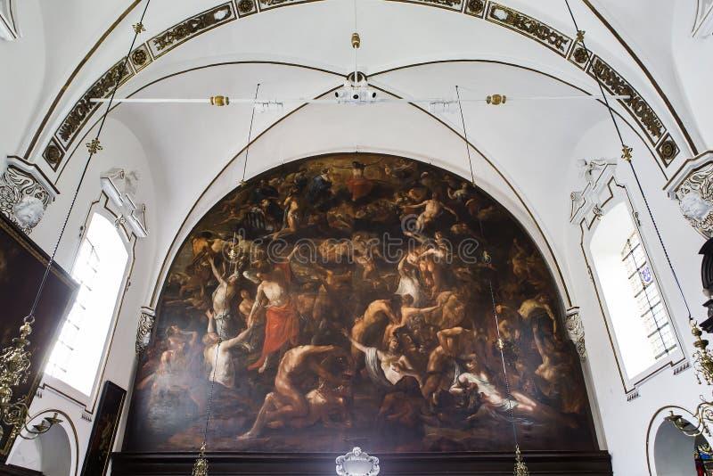 Wnętrza sainte Anne chrurch, Bruges, Belgia zdjęcie stock