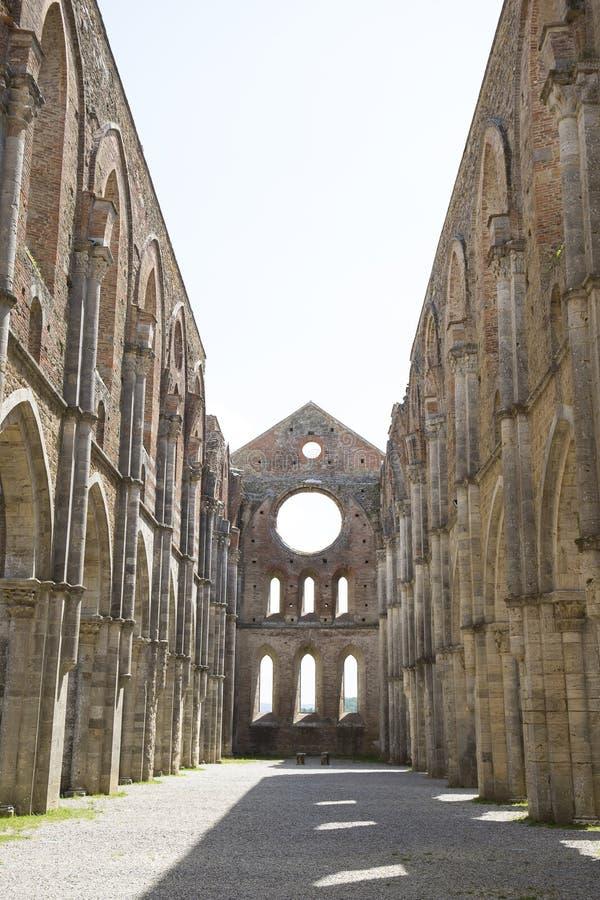 Wnętrza San galgano opactwo, Chiusdino, Tuscany obraz royalty free