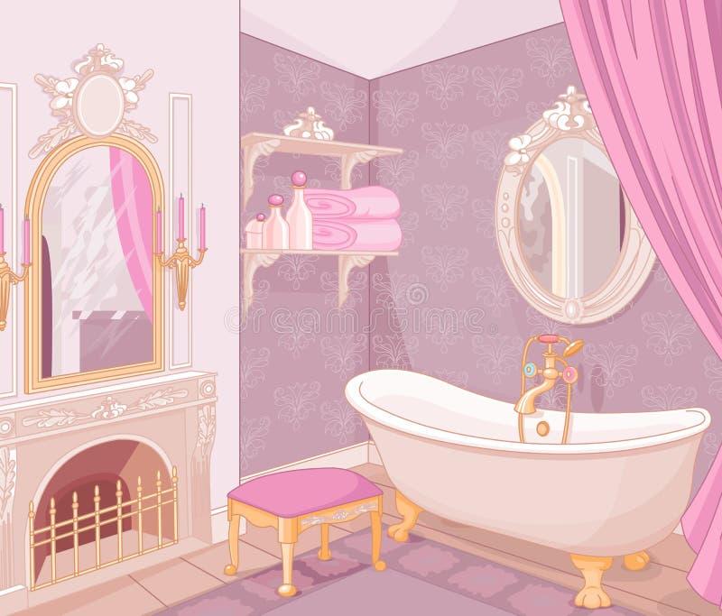 Wnętrze łazienka w pałac royalty ilustracja