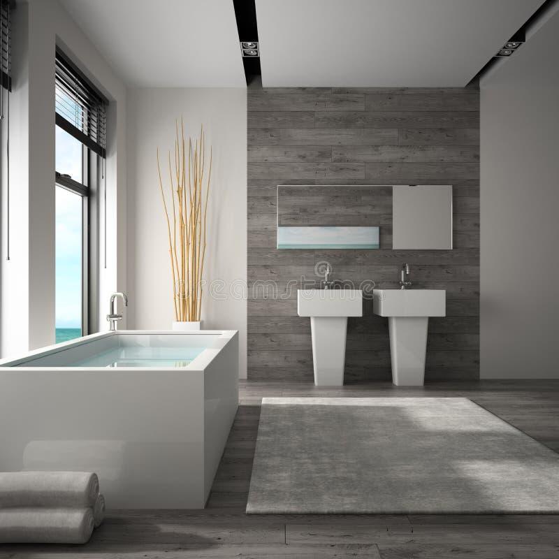Wnętrze łazienka z dennym widoku 3D renderingiem obrazy stock