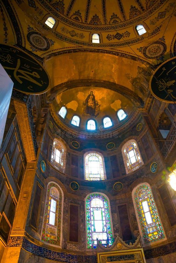 Wnętrze świątynia Hagia Sophia mozaika dziewica dziecko i, Turcja, Istanbuł zdjęcia royalty free