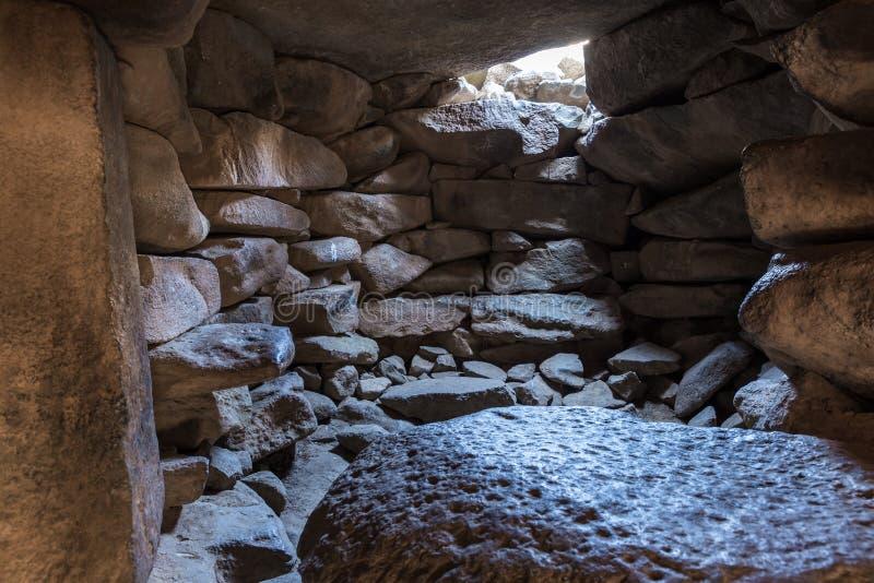 Wnętrze świątynia megalityczny kompleks wcześni Brązowego wiekakoła duchy, Rujum al, Gilgal Rephaeem dalej obrazy stock